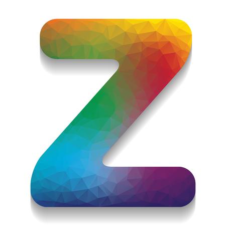 Élément de modèle de conception lettre Z signe. Vecteur. Icône colorée avec une texture lumineuse de mosaïque avec une ombre douce sur fond blanc. Isolé.