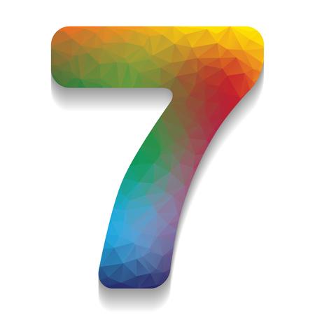 Élément de modèle de conception de signe numéro 7. Vecteur. Icône colorée avec une texture lumineuse de mosaïque avec une ombre douce sur fond blanc. Isolé. Vecteurs