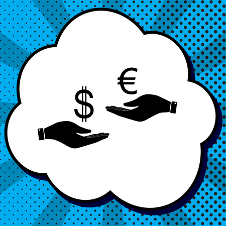 Currency exchange from hand to hand. Dollar adn Euro. Vector. Black icon in bubble on blue pop-art background with rays. Stock Illustratie