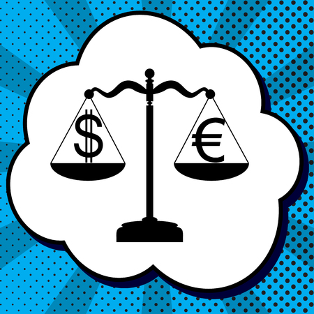 Justice scales with currency exchange sign. Vector. Black icon in bubble on blue pop-art background with rays.