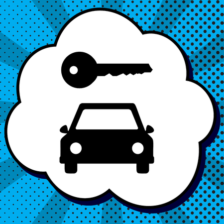 Car key simplistic sign. Vector. Black icon in bubble on blue pop-art background with rays.