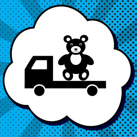 Truck with bear. Vector. Black icon in bubble on blue pop-art background with rays. Ilustração