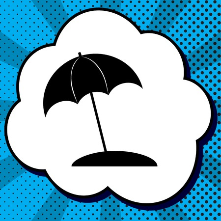 Umbrella and sun lounger sign. Vector. Black icon in bubble on blue pop-art background with rays.
