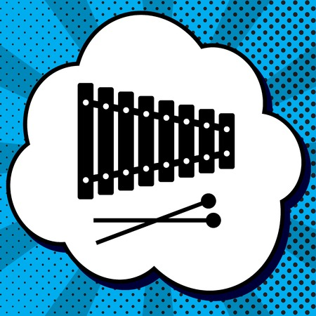 Xylophone sign. Vector. Black icon in bubble on blue pop-art background with rays.  イラスト・ベクター素材