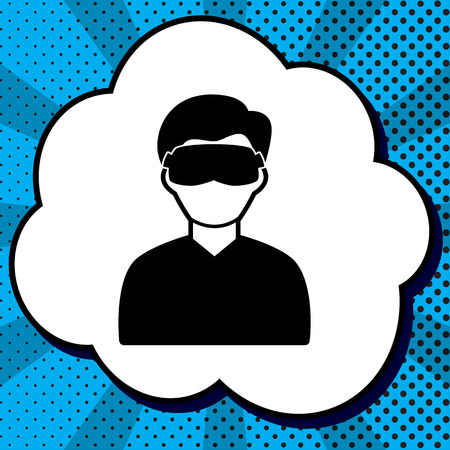 Man with sleeping mask sign. Vector. Black icon in bubble on blue pop-art background with rays. Illustration