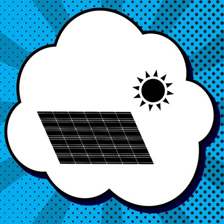 Panel de energía solar. Signo de concepto de tendencia ecológica. Vector. Icono negro en burbuja sobre fondo azul pop-art con rayos.