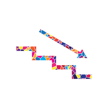 Stair down with arrow. Vector. Stained glass icon on white background. Colorful polygons. Isolated.