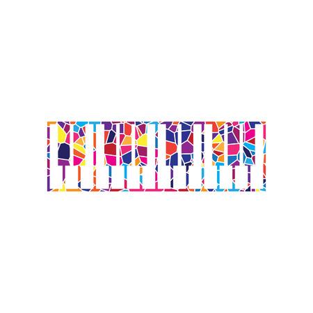 Segno di tastiera di pianoforte. Vettore. Icona di vetro colorato su sfondo bianco. Poligoni colorati. Isolato. Vettoriali