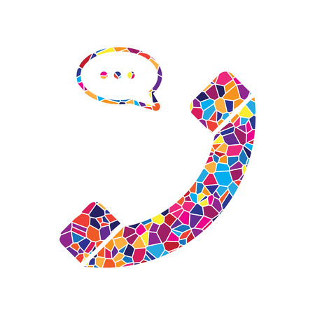 Phone with speech bubble sign. Vector. Stained glass icon on white background. Colorful polygons. Isolated. Illustration
