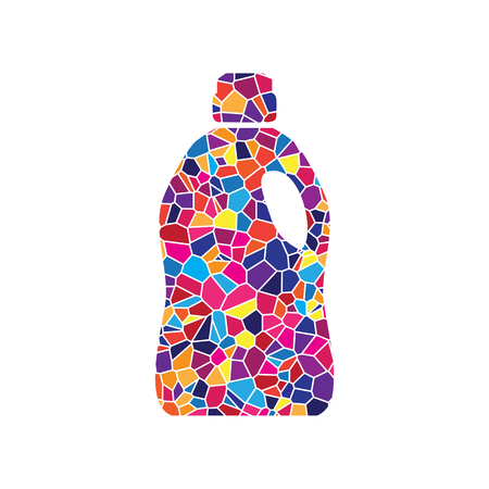 Plastic bottle for cleaning. Vector. Stained glass icon on white background. Colorful polygons. Isolated. Illustration