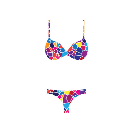 Women swimsuit sign. Vector. Stained glass icon on white background. Colorful polygons. Isolated.