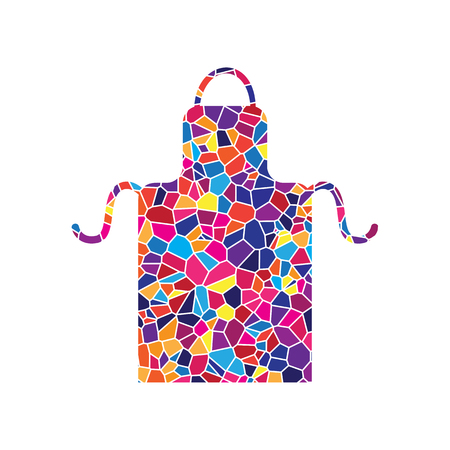 Apron simple sign. Vector. Stained glass icon on white background. Colorful polygons. Isolated. Ilustração