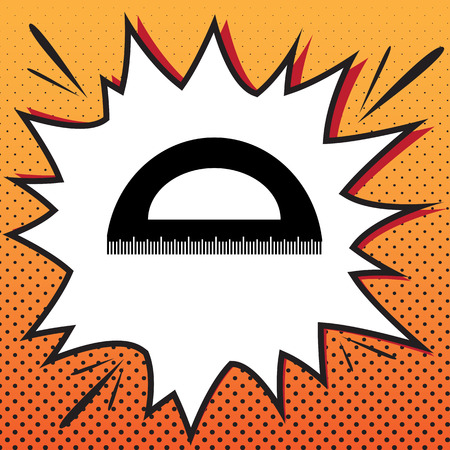 Ruler sign illustration. Vector. Comics style icon on pop-art background. Illustration