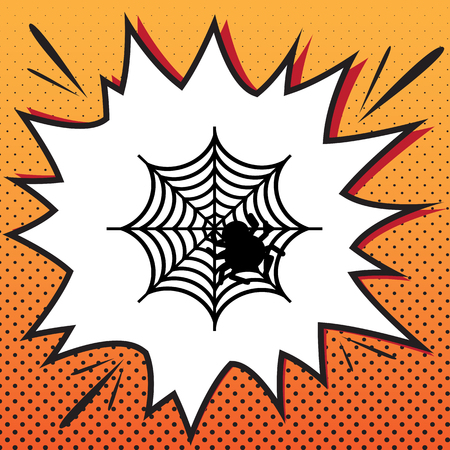 Spider on web illustration. Vector. Comics style icon on pop-art background.