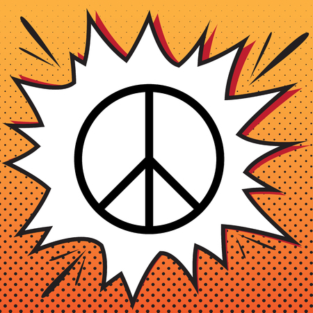 Peace sign illustration. Vector. Comics style icon on pop-art background.