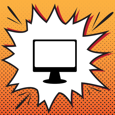 Monitor with brush sign. Vector. Comics style icon on pop-art background. Vektorové ilustrace