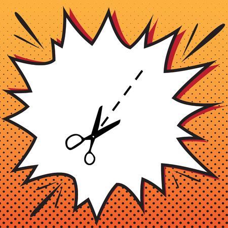 Scissors sign illustration. Vector. Comics style icon on pop-art background.
