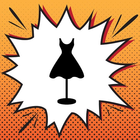 Mannequin with dress sign. Vector. Comics style icon on pop-art