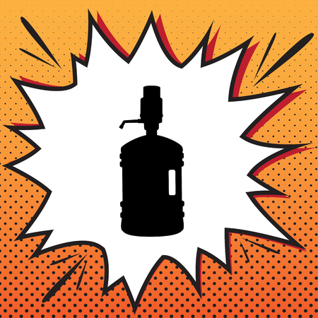 Plastic bottle silhouette with water and siphon. Vector. Comics style icon on pop-art background. Illustration