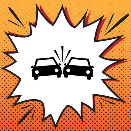 Crashed Cars sign. Vector. Comics style icon on pop-art background. Stock Illustratie