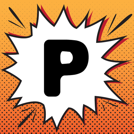 Letter P sign design template element. Vector. Comics style icon on pop-art background. Ilustração