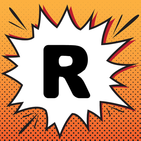 Letter R sign design template element. Vector. Comics style icon on pop-art background.