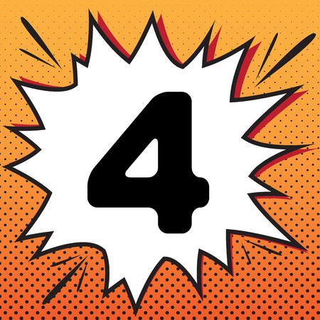 Number 4 sign design template element. Vector. Comics style icon on pop-art background.