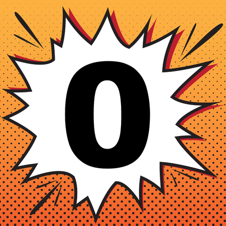 Number 0 sign design template element. Vector. Comics style icon on pop-art background. Illustration