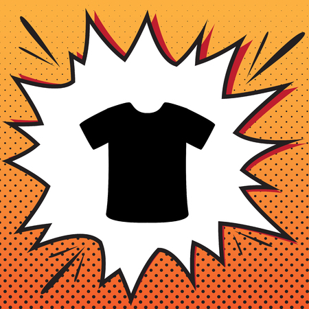 T-shirt sign. Vector. Comics style icon on pop-art background.