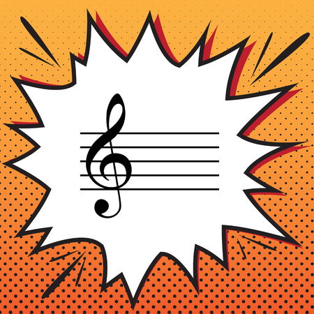 Music violin clef sign. G-clef. Vector. Comics style icon on pop Illustration