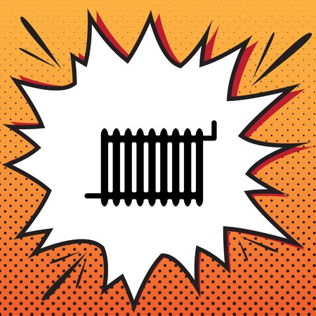 Radiator sign. Vector. Comics style icon on pop-art background.