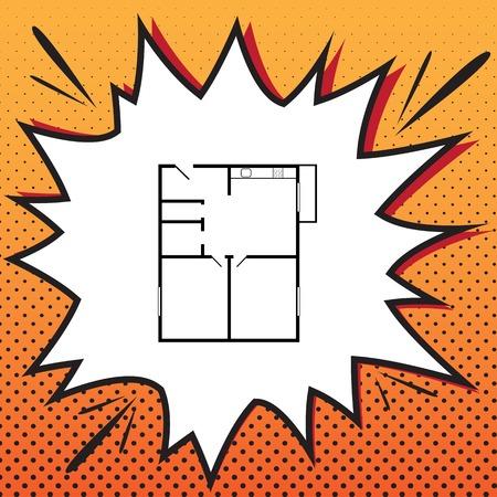 Apartment house floor plans, comics style icon on the pop-art.