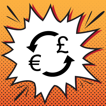 Currency exchange sign. Euro and UK Pound. Vector. Comics style icon on pop-art background. Stock Illustratie