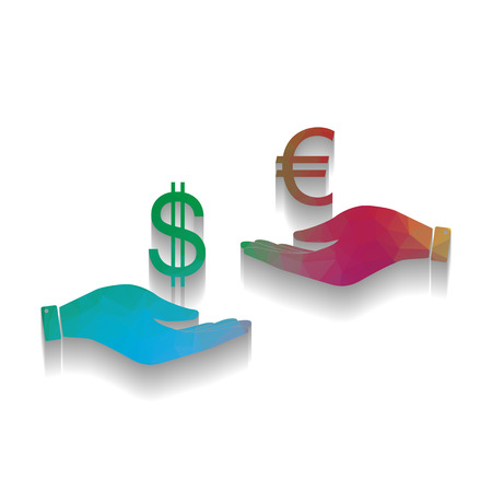 Currency exchange from hand to hand. Dollar adn Euro. Vector. Colorful icon with bright texture of mosaic with soft shadow on white background. Isolated.