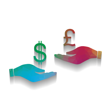 Currency exchange from hand to hand. Dollar and Pound. Vector. Colorful icon with bright texture of mosaic with soft shadow on white background. Isolated.
