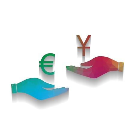 Currency exchange from hand to hand. Euro and Yuan. Vector. Colorful icon with bright texture of mosaic with soft shadow on white background. Isolated.