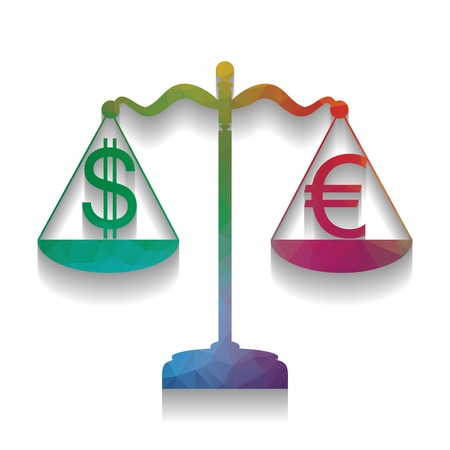 Justice scales with currency exchange sign. Vector. Colorful icon with bright texture of mosaic with soft shadow on white background. Isolated.