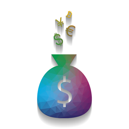 Money bag sign with currency symbols. Vector. Colorful icon with
