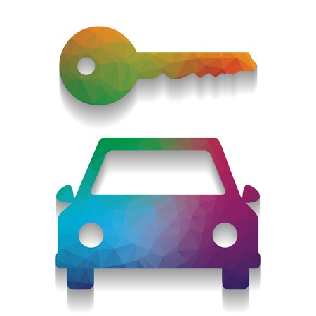 Car key simplistic sign. Vector. Colorful icon with bright texture of mosaic with soft shadow on white background. Isolated.