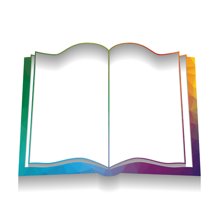 Book sign. Vector. Colorful icon with bright texture of mosaic with soft shadow on white background. Isolated.