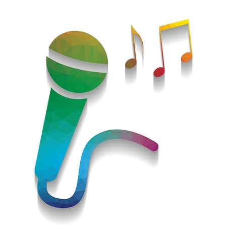 Microphone sign with music notes. Vector. Colorful icon with bright texture of mosaic with soft shadow on white background. Isolated.