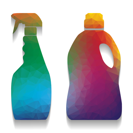Household chemical bottles sign. Vector. Colorful icon with brig