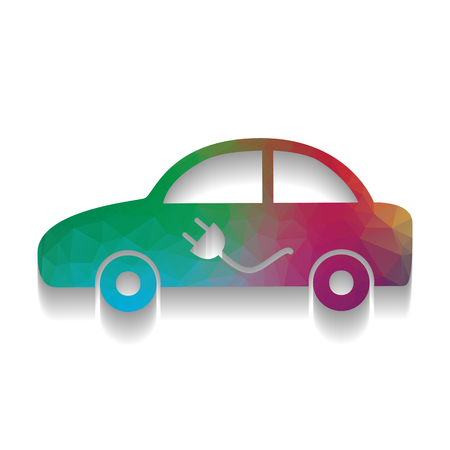 Electric car sign. Vector. Colorful icon with bright texture of mosaic with soft shadow on white background. Isolated.