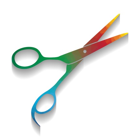 Hair cutting scissors sign. Vector. Colorful icon with bright texture of mosaic with soft shadow on white background. Isolated.