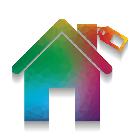 Home silhouette with tag. Vector. Colorful icon with bright texture of mosaic with soft shadow on white background. Isolated. Vector Illustration