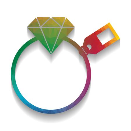 Diamantschild mit Etikett. Vektor. Buntes Symbol mit heller Textur des Mosaiks mit weichem Schatten auf weißem Hintergrund. Isoliert.