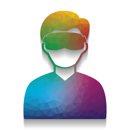 Man with sleeping mask sign. Vector. Colorful icon with bright texture of mosaic with soft shadow on white background. Isolated.