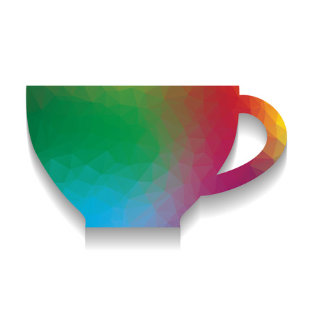 Cup sign. Vector. Colorful icon with bright texture of mosaic with soft shadow on white background. Isolated.