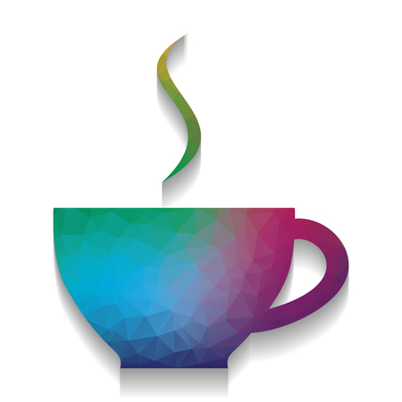 Cup sign with one small stream of smoke. Vector. Colorful icon with bright texture of mosaic with soft shadow on white background. Isolated.