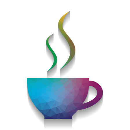 Cup sign with two small streams of smoke. Vector. Colorful icon with bright texture of mosaic with soft shadow on white background. Isolated.